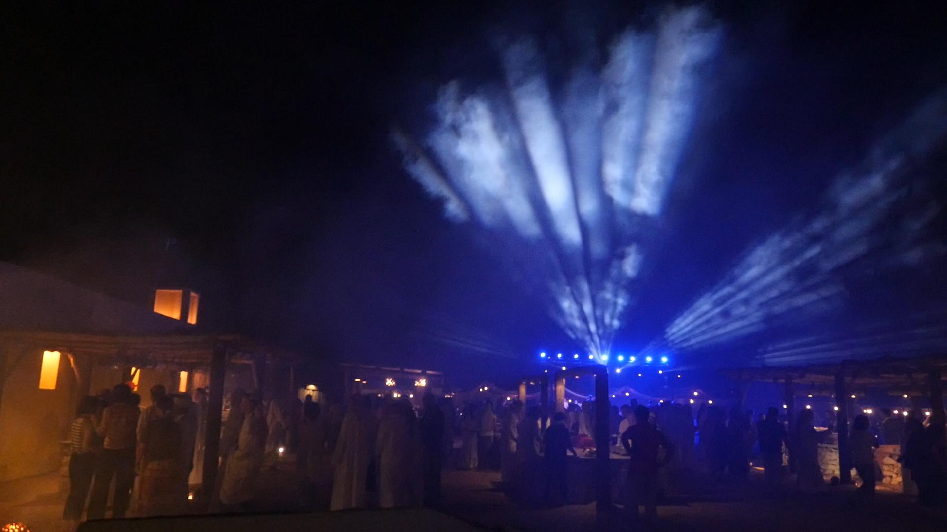 ▲ドバイという過酷な地で、地上カメラ4台+ドローン2台を駆使してのイベント撮影の現場の模様。