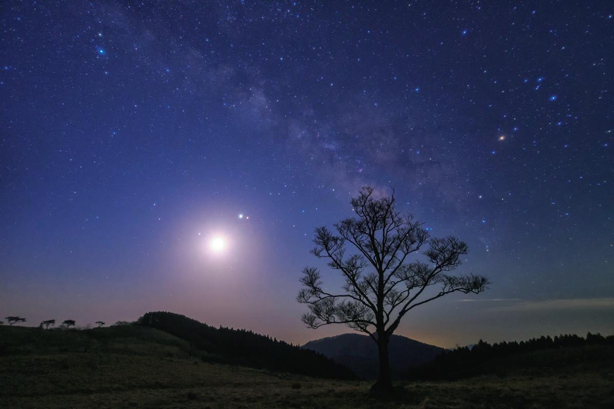 夜明け前、月明かりに照らされた草原に天の川が昇ってきた。<br /> 月の周りには火星・木星・土星が集結し、一足早くにぎやかな夏空を演出していた。