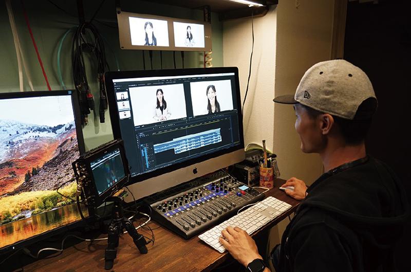 ▲自社スタジオは白ホリ、黒バック撮影はもちろん、クロマキー合成にも対応。スタジオではテレビ番組やeラーニングコンテンツの制作を中心に行なっており、撮影中に別室のMacで収録と同時に編集を行い、クライアントに撮影後に完パケを持ち帰ってもらうというスピーディーな制作も手がける。